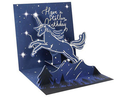 Unicorn Constellation with Light - Up With Paper Pop-Up Card