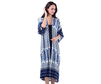 Floral Blue - Kimono Duster - Pi Style Boutique - Mad Style - Clothing - 3