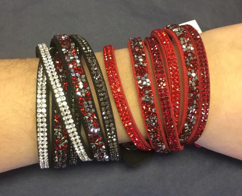Sparkle & Stud - Leather Wrap Bracelet