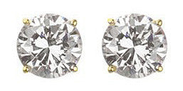 3 carat Round Gold Plated Stud Earrings