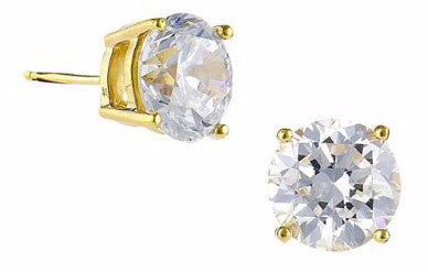 4 carat Round Gold Plated Stud Earrings