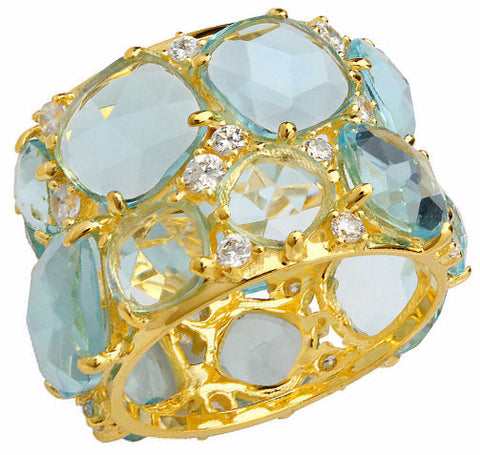 18.5 CTTW Aquamarine Stone Candy Couture Gold Ring