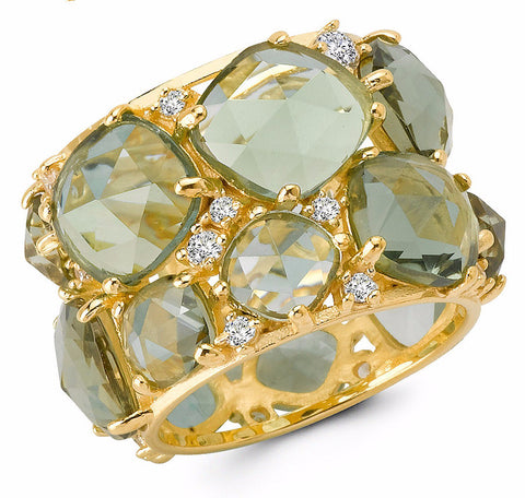 20 CTTW Green Amethyst Candy Couture Gold Ring
