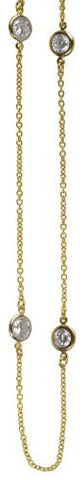 3.25 carat Gold Plated Round Cut Bezel Chain Necklace