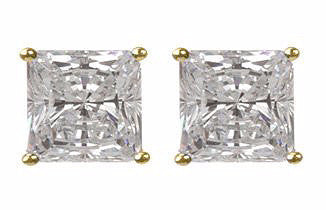 4 carat Princess Cut Gold Plated Stud Earrings