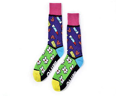 Romero Britto Women's Woven Crew Sock (Flowers & Lipstick) - Pi Style Boutique - Giftcraft - Gifts & Decor