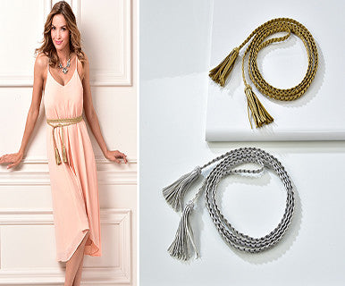 Braided Faux-Leather Wrap Belt