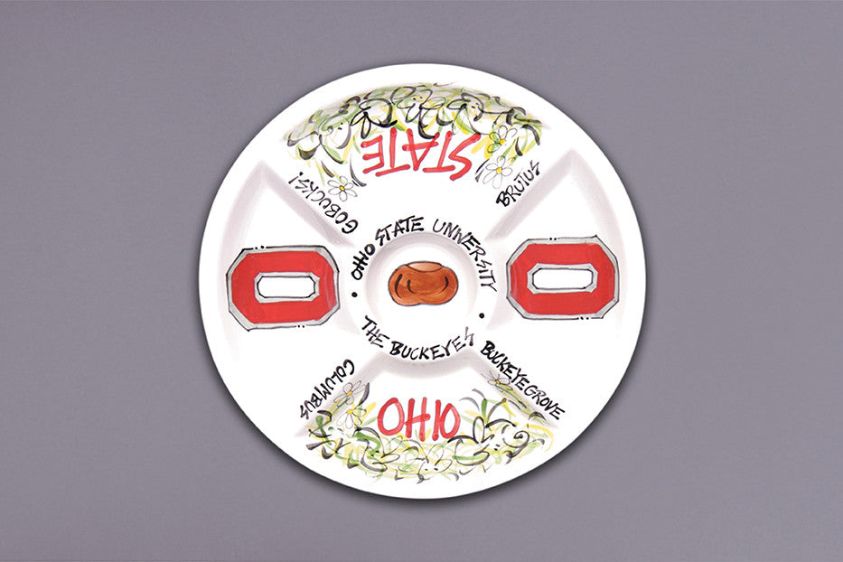 Ohio State Divided Veggie Platter - Pi Style Boutique - Magnolia Lane - Gifts & Decor