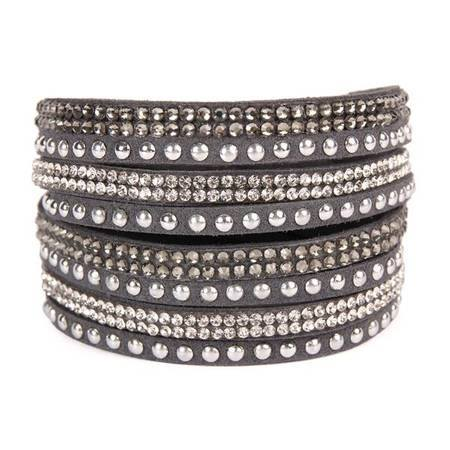 Petite Sparkle & Stud - Leather Wrap Bracelet