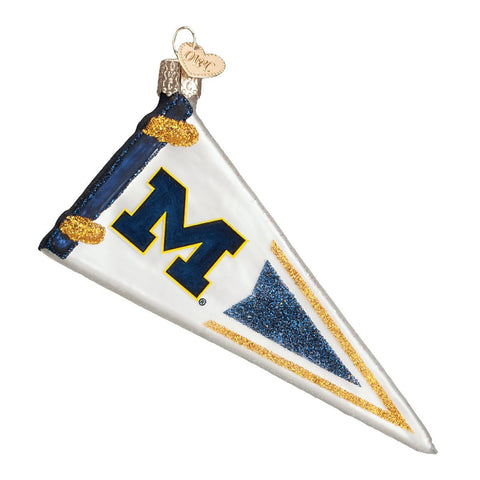 University of Michigan Pennant Glass Blown Ornament by Old World Christmas