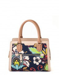 This gorgeous satchel features a vibrant Amelia floral print and tan lea... click for more information