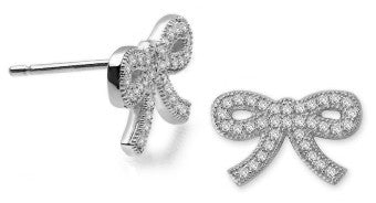 1.02 carat Micro Pave Ribbons & Pearls Bow Earrings