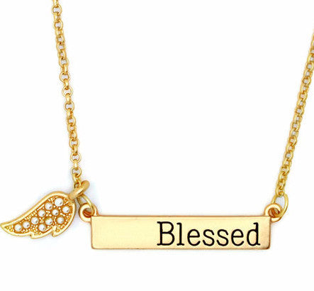 Blessed - Bar Necklace - Pi Style Boutique - Key Item