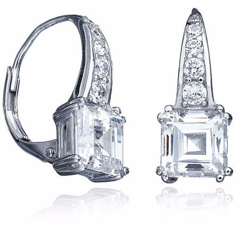 4 carat Pave Adorned Square Cut Leverback Earrings