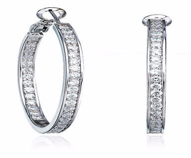 1.5 carat 35mm Inside Out Hoop Earrings