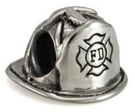 Sterling silver firefighter hat charm for European style charm bracelet.... click for more information