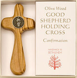 """Good Shepherd"" - Olive Wood Holding Cross - Pi Style Boutique - Good Gift - 1"