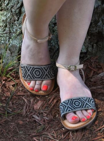 Beaded Beauties - Leather Sandals