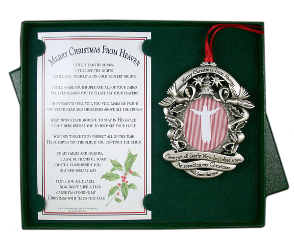Pewter Merry Christmas From Heaven ® Picture Ornament - Pi Style Boutique - MooneyTunes - Gifts & Decor - 1