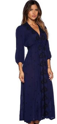 Embroidered Fable - Free People Maxi Dress