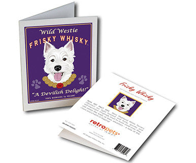Westie Whisky - Greeting Card - Pi Style Boutique - Retro Pets Art - Gifts & Decor