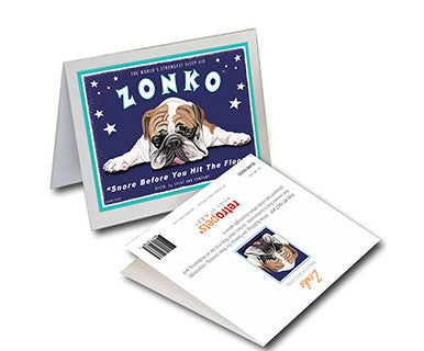 Zonko Bulldog - Greeting Card - Pi Style Boutique - Retro Pets Art - Gifts & Decor