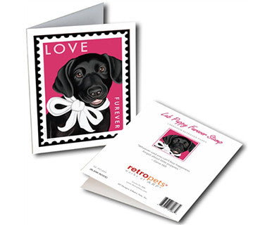 Black Lab Furever Stamp - Greeting Card - Pi Style Boutique - Retro Pets Art - Gifts & Decor