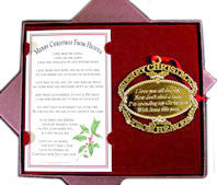 Gold Merry Christmas From Heaven ® Ornament & Bookmark - Pi Style Boutique - MooneyTunes - Gifts & Decor