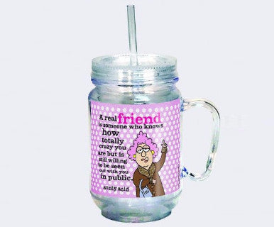 "Aunty Acid Mason Jar Cup ""Friend"" - Pi Style Boutique - Spoontiques"