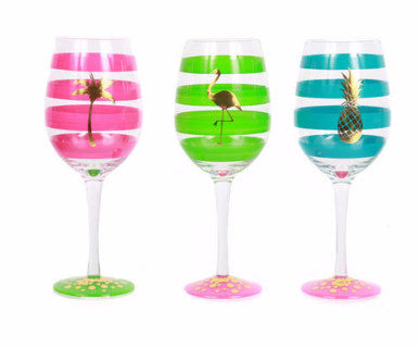 Tropical Fantasy - Hand painted Wine Glasses