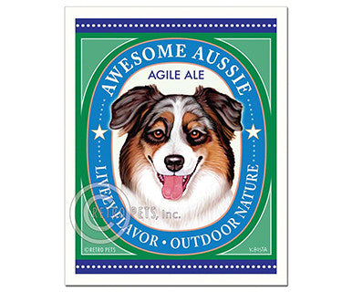 Awesome Aussie - Magnet - Pi Style Boutique - Retro Pets Art - Gifts & Decor