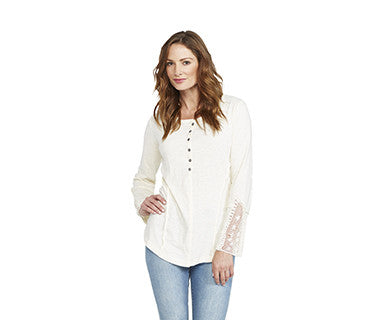 Yoked Lace - Mona B Henley Top (FINAL SALE)