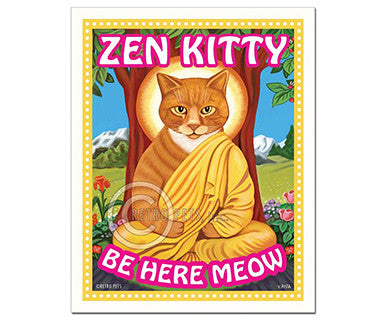 Zen Kitty - Magnet - Pi Style Boutique - Retro Pets Art - Gifts & Decor