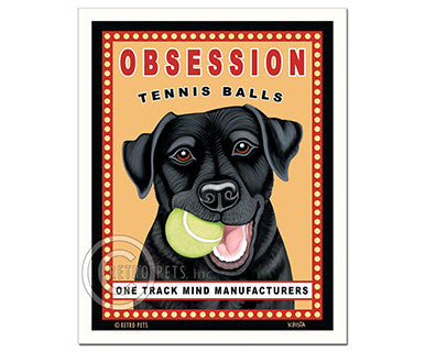 Obsession Tennis Balls - Black Lab - Magnet - Pi Style Boutique - Retro Pets Art - Gifts & Decor