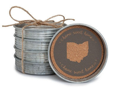 Home Sweet Home (Ohio) - Mason Jar Lid Coasters - Pi Style Boutique - Occasionally Made - Gifts & Decor