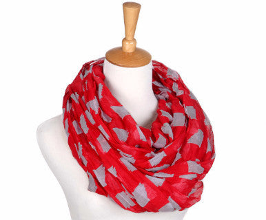 Infinity Ohio Scarf- Red/Grey - Pi Style Boutique - Occasionally Made