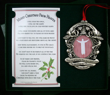 Pewter Merry Christmas From Heaven ® Picture Ornament - Pi Style Boutique - MooneyTunes - Gifts & Decor - 2