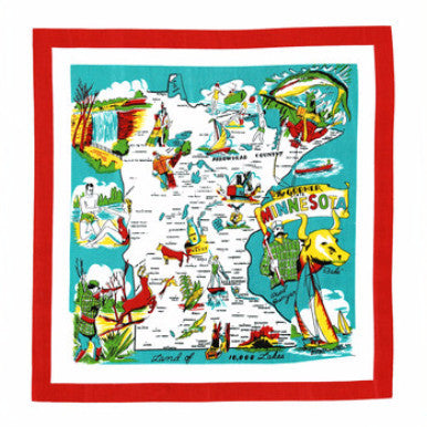 "22"" Flour Sack Towel - Minnesota - Pi Style Boutique - Red and White Kitchen Company"