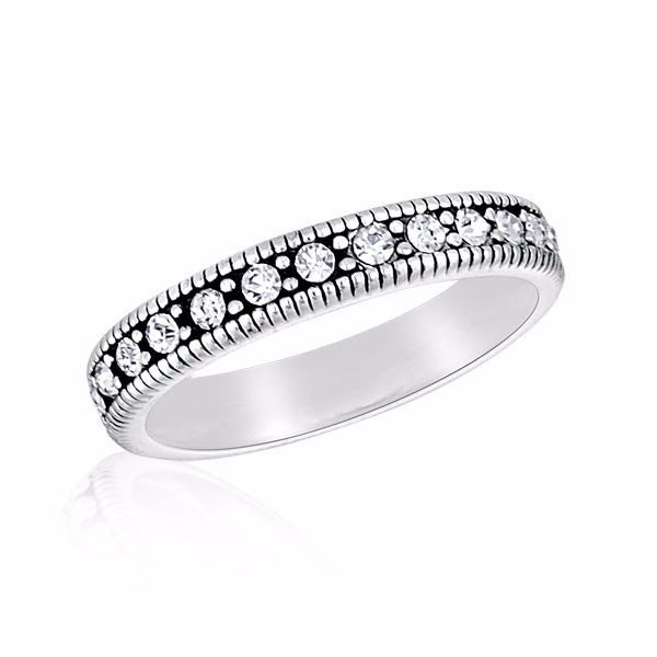 Crystal (White) Band - DaVinci Stack Ring - Pi Style Boutique - Center Court