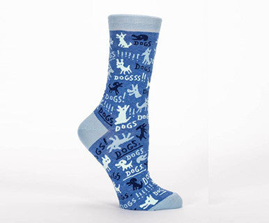 Dogs! - Women's Blue Q Crew Socks