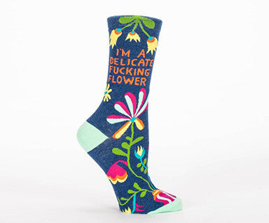 Delicate Fucking Flower - Women's Blue Q Crew Socks