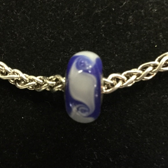 Blue/White Swirls - Glass Bead (FINAL  SALE)