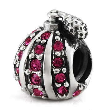 Sterling silver charm with pink CZs. click for more information