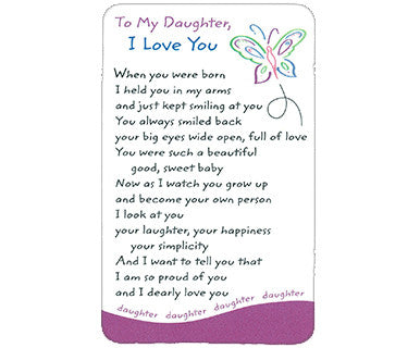 To My Daughter - Wallet Card