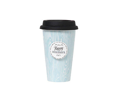 Aqua Wood Grain - Double Wall Cup Couture Travel Cup
