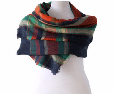 Block Plaid - Blanket Scarf - Pi Style Boutique - Ganz - Accessories - 2