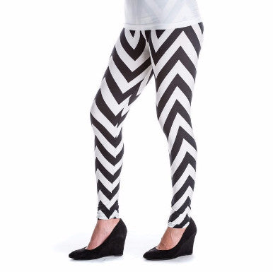 B/W Chevron - Leggings - Pi Style Boutique - Accent Accessories
