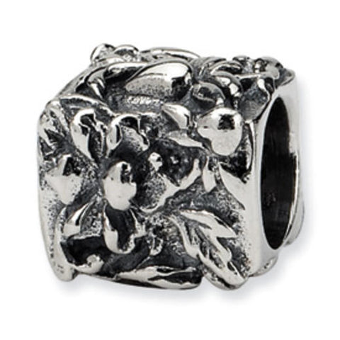 Sterling silver floral motif charm. click for more information