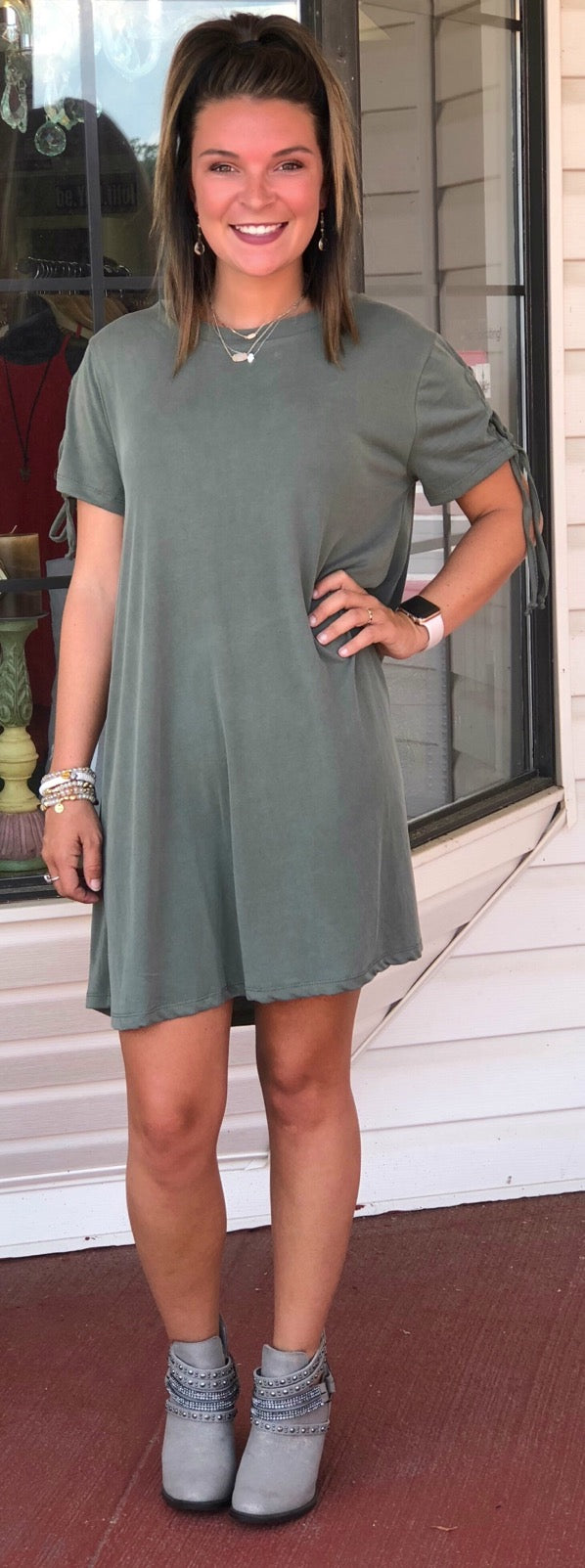 Olive Lace Up Swing Dress
