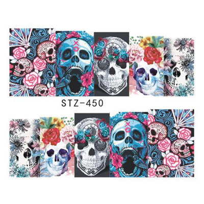 DS-OB - Floral Skulls Water Decals